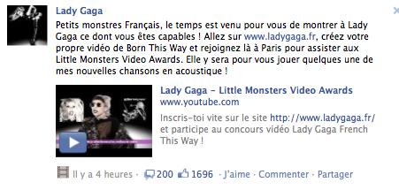 Lady Gaga s'adresse sur Facebook à ses Petits monstres Français
